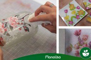 Hoe kan je glas versieren met papieren servetten?